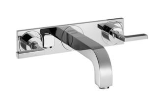 Axor Citterio  3-Loch Waschtischarmatur Unterputz mit Hebelgriffen, Platte und Auslauf 166mm DN15, Wandmontage  von  Axor