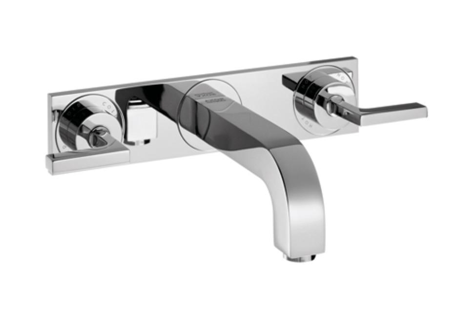 Axor Citterio  3-Loch Waschtischarmatur Unterputz mit Hebelgriffen, Platte und Auslauf 166mm DN15, Wandmontage