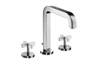 Axor Citterio 3-Hole Basin Mixer with cross handles and spout 205mm DN15  by  Axor