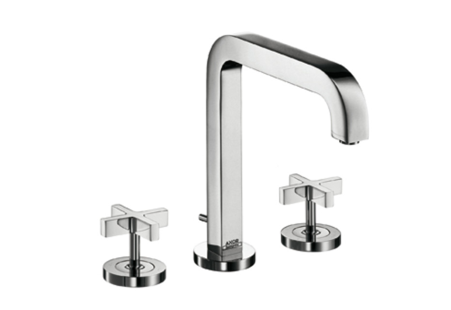 Axor Citterio 3-Hole Basin Mixer with cross handles and spout 205mm DN15