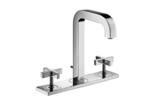 Axor Citterio 3-Hole Basin Mixer with cross handles, plate and spout 140mm DN15  by  Axor