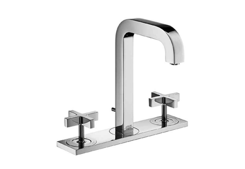 Axor Citterio 3-Hole Basin Mixer with cross handles, plate and spout 140mm DN15