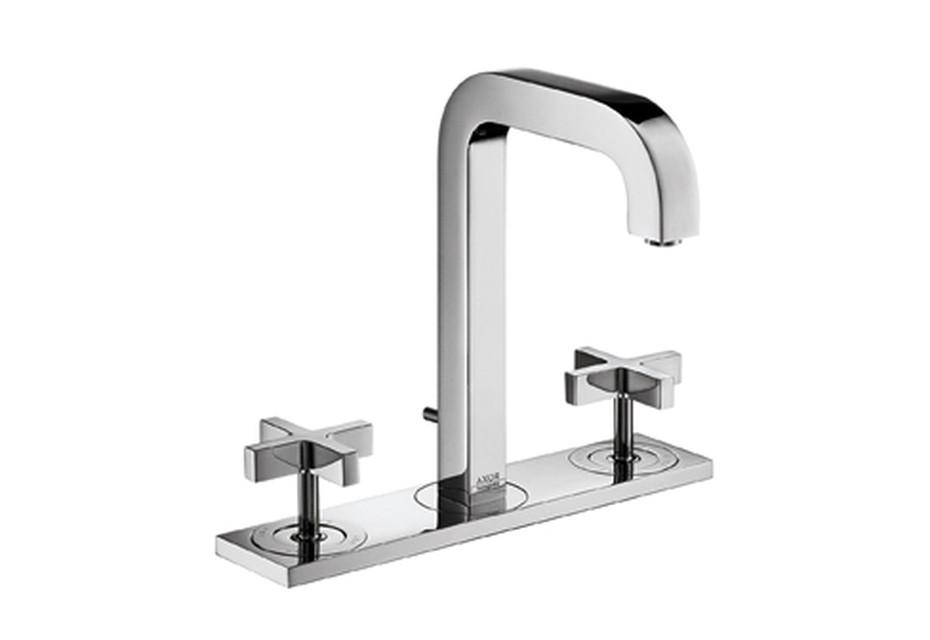 Axor Citterio 3-Loch Waschtischarmatur mit Kreuzgriffen, Platte und Auslauf 140mm DN15