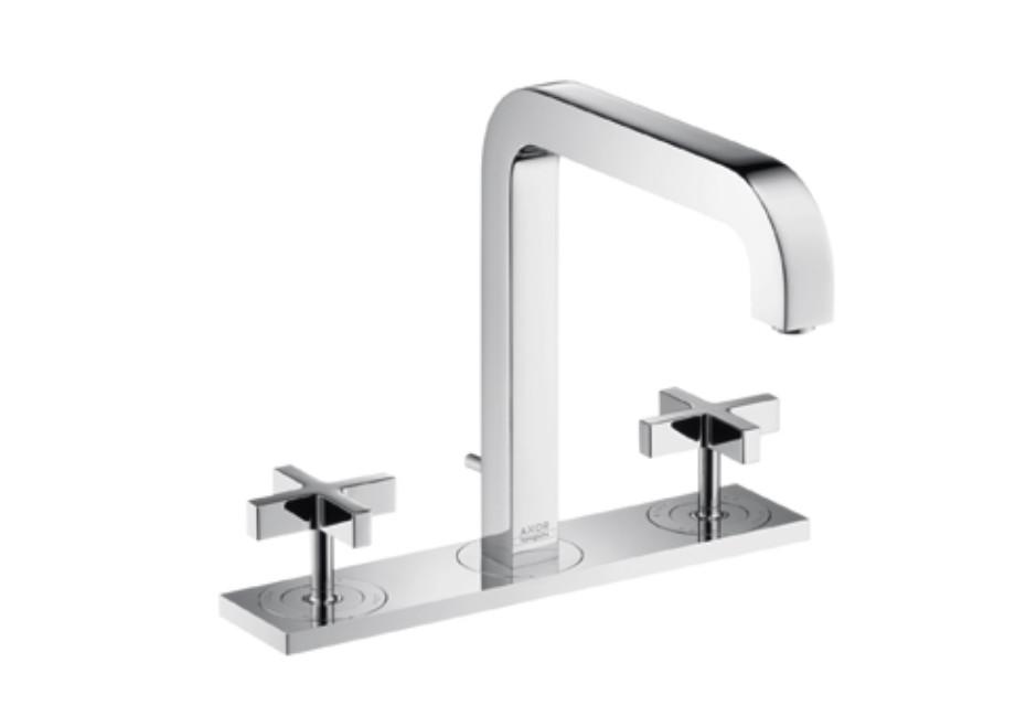 Axor Citterio 3-Loch Waschtischarmatur mit Kreuzgriffen, Platte und Auslauf 205mm DN15