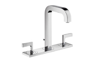 Axor Citterio 3-Hole Basin Mixer with lever handles, plate and spout 140mm DN15  by  Axor