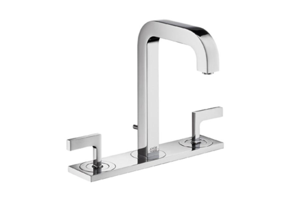 Axor Citterio3-Loch Waschtischarmatur mit Hebelgriffen, Platte und Auslauf 140mm DN15