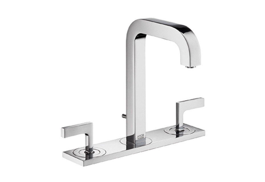 Axor Citterio 3-Hole Basin Mixer with lever handles, plate and spout 140mm DN15