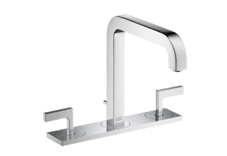 Axor Citterio 3-Loch Waschtischarmatur mit Hebelgriffen, Platte und Auslauf 205mm DN15