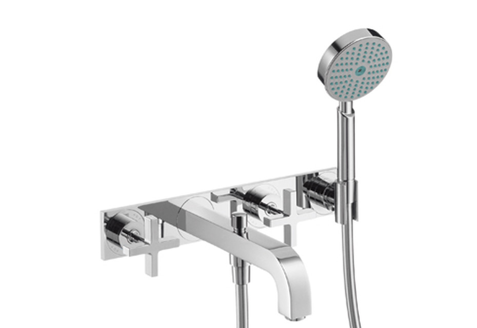 Axor Citterio 3-Hole Bath Mixer with cross handles and plate DN15
