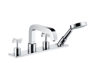 Axor Citterio 4-Hole Rim-Mounted Bath Mixer with cross handles and plate DN15  by  Axor