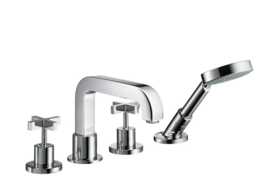 Axor Citterio 4-Hole Rim-Mounted Bath Mixer with cross handles DN15