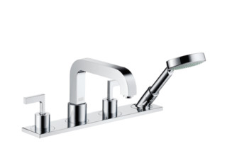 Axor Citterio 4-Hole Rim-Mounted Bath Mixer with lever handles and plate DN15  by  Axor