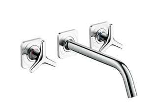 Axor Citterio M 3-Hole Basin Mixer for concealed installation with star handles, escutcheons and spout 166mm DN15, wall mounting  by  AXOR