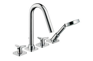 Axor Citterio M 4-Hole Tile-Mounted Bath Mixer with star handles and escutcheons, DN15  by  AXOR
