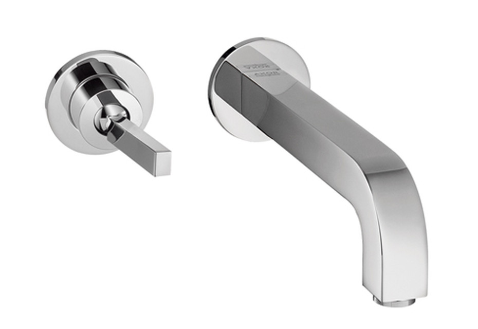 Axor Citterio Single Lever Basin Mixer for concealed installation with escutcheons and spout 165mm, wall mounting, DN15