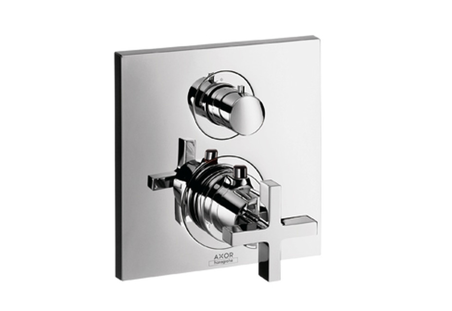 Axor Citterio Thermostatic Mixer for concealed installation with shut-off valve and cross handle
