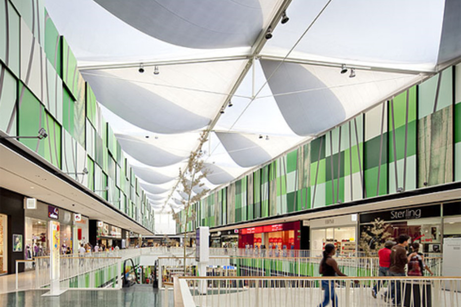 ETFE foil cushions, shopping-complex