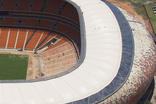 PTFE-coated sand coloured glass fabric, Soccer City Stadium  by  Hightex
