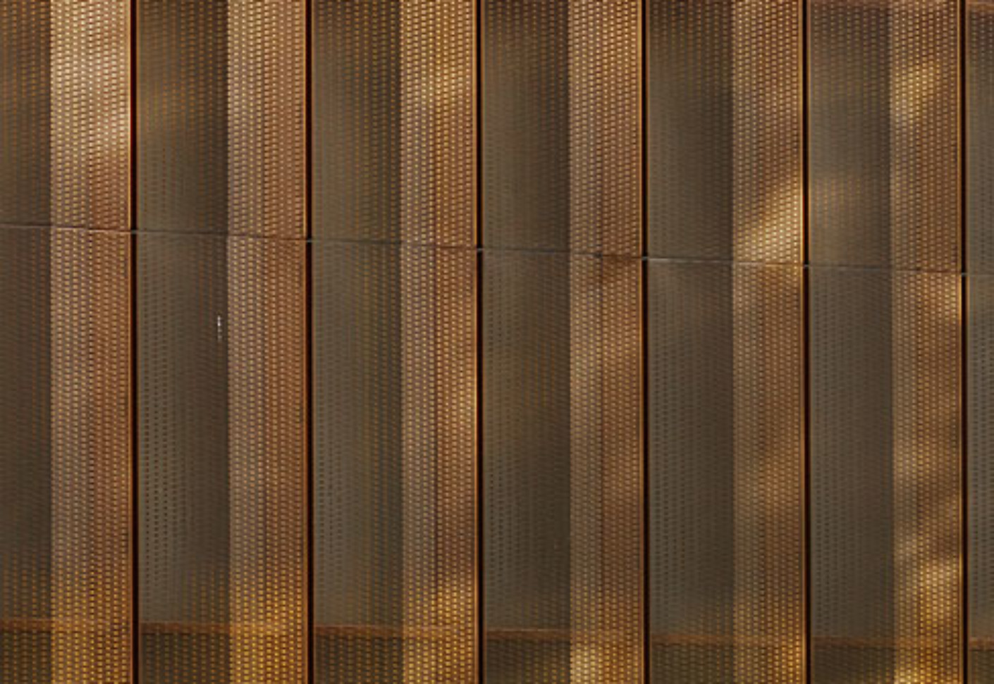 Metallic Wall Paneling : Tecu bronze punch slot perforation villa vauban by kme