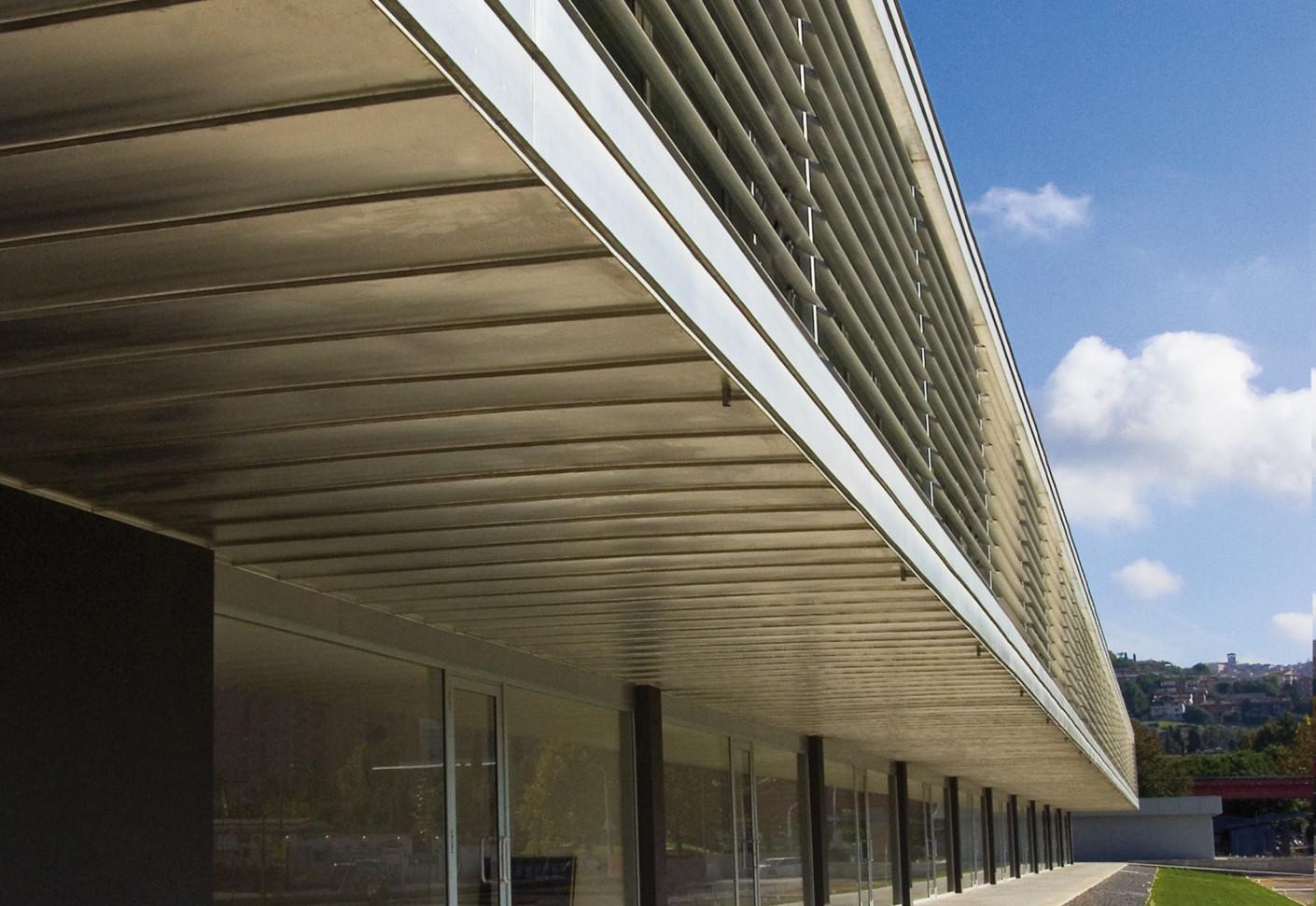 Tecu 174 Zinn Panels With Solar Shading Lamellas By Kme
