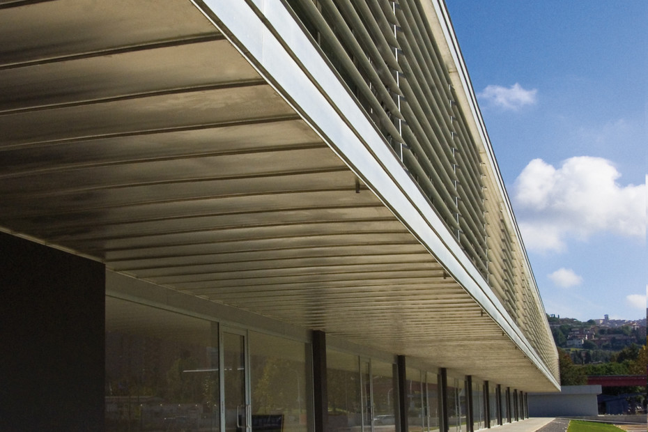 TECU® ZINN Panels with solar shading lamellas