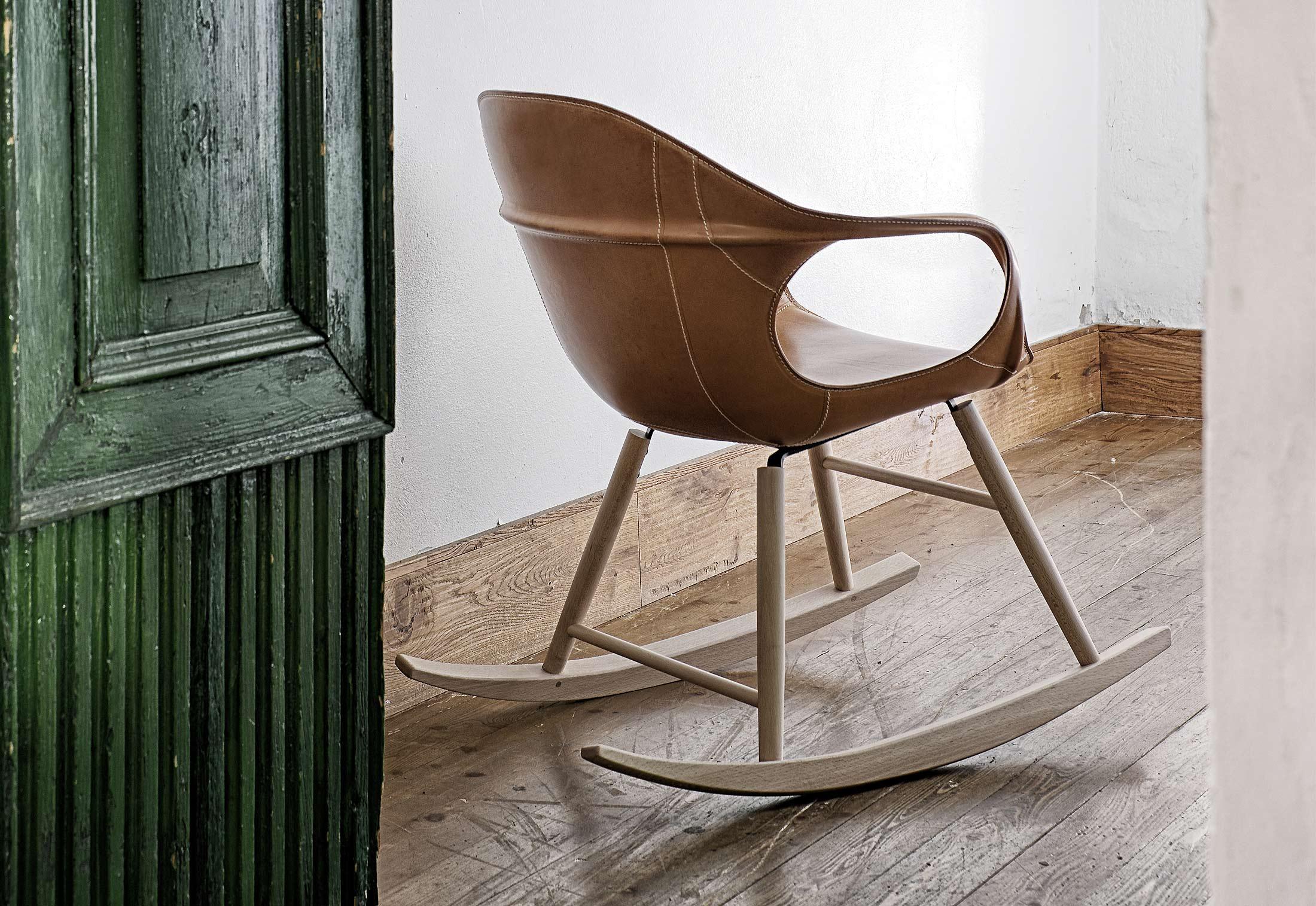 elephant leather rocking chair by kristalia stylepark