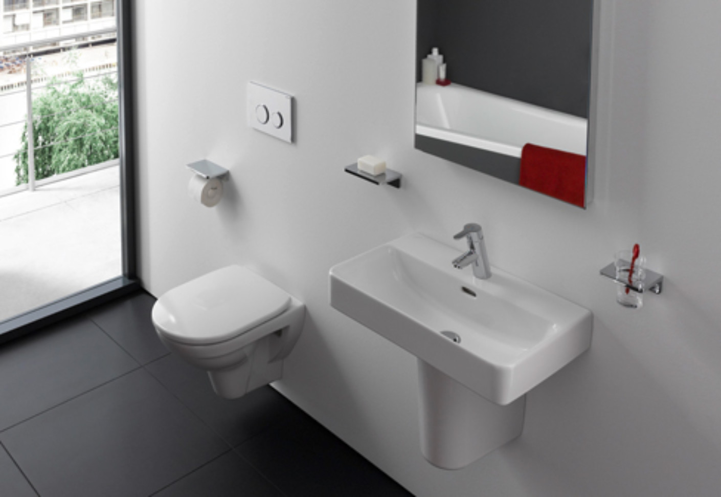 laufen pro washbasin s with semi pedestal by laufen stylepark. Black Bedroom Furniture Sets. Home Design Ideas