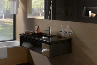 Living square vanity unit for hotel with tissue box  by  Laufen