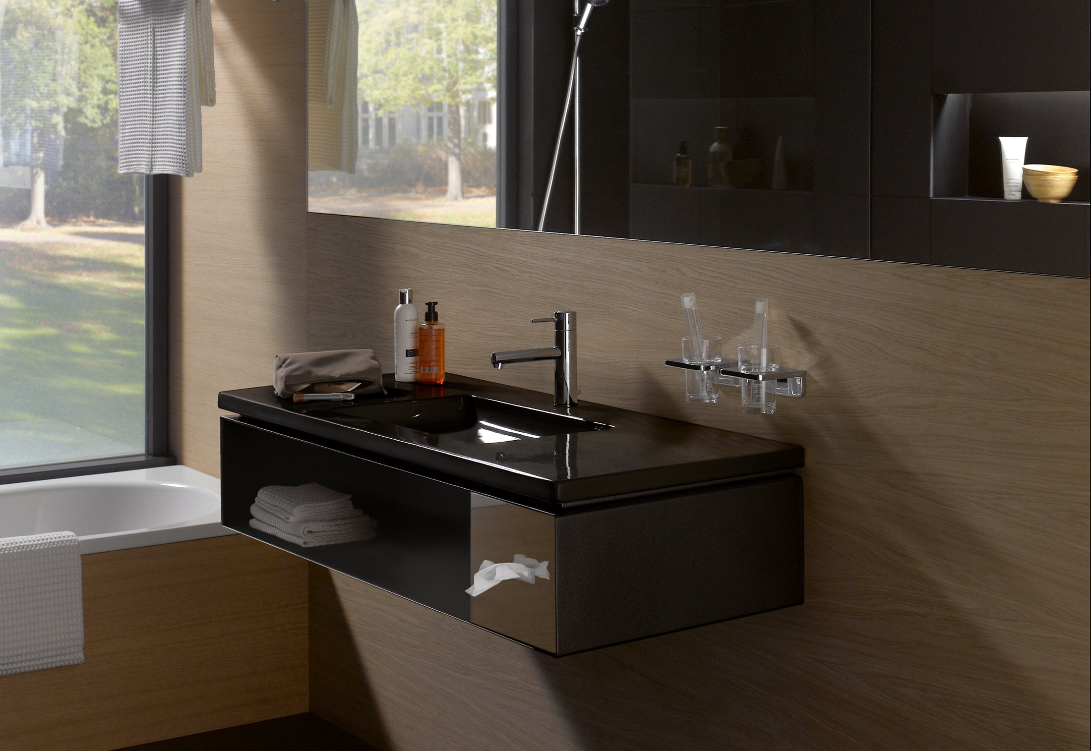 living square vanity unit for hotel with tissue box by. Black Bedroom Furniture Sets. Home Design Ideas