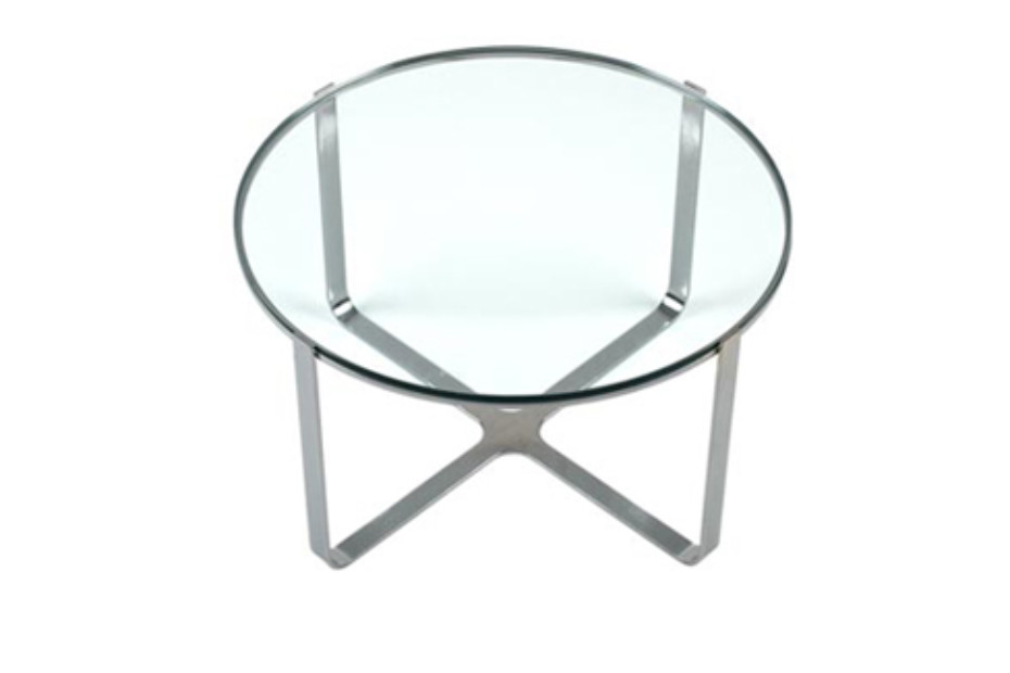 Trace rund Table with glass surface