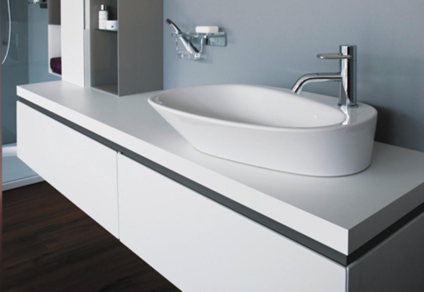 palomba aufsatz waschtisch mit armaturenbank von laufen stylepark. Black Bedroom Furniture Sets. Home Design Ideas