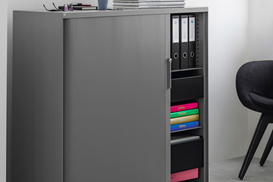 "LO One ""skin"" roll-front cabinet"