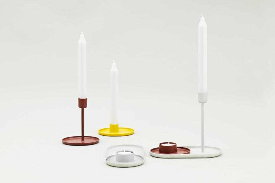 Folk candle holder tray