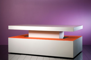 Anodised alu table & benches  by  Paul Kelley