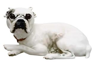 French bulldog without cushion No.554  by  Porzellan-Manufaktur Nymphenburg