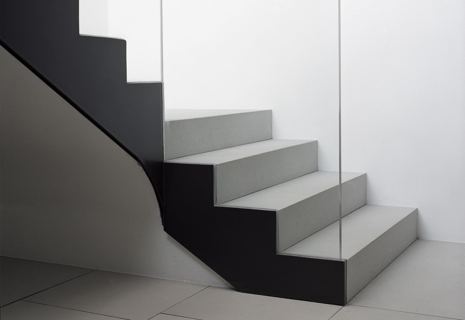 concrete skin interior, Corkscrew Stairs, ivory