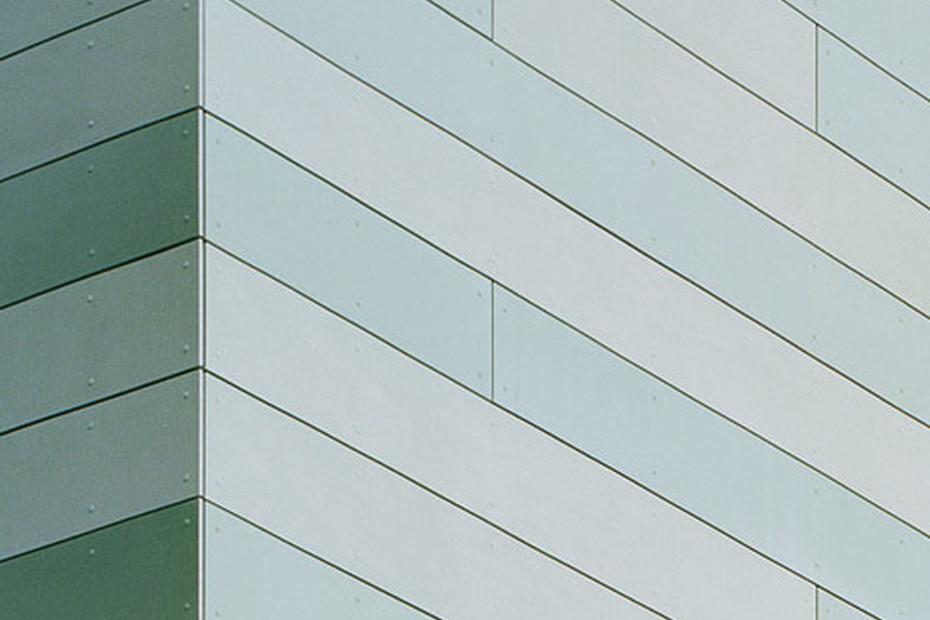 concrete skin, office building Stuttgart, green mixed