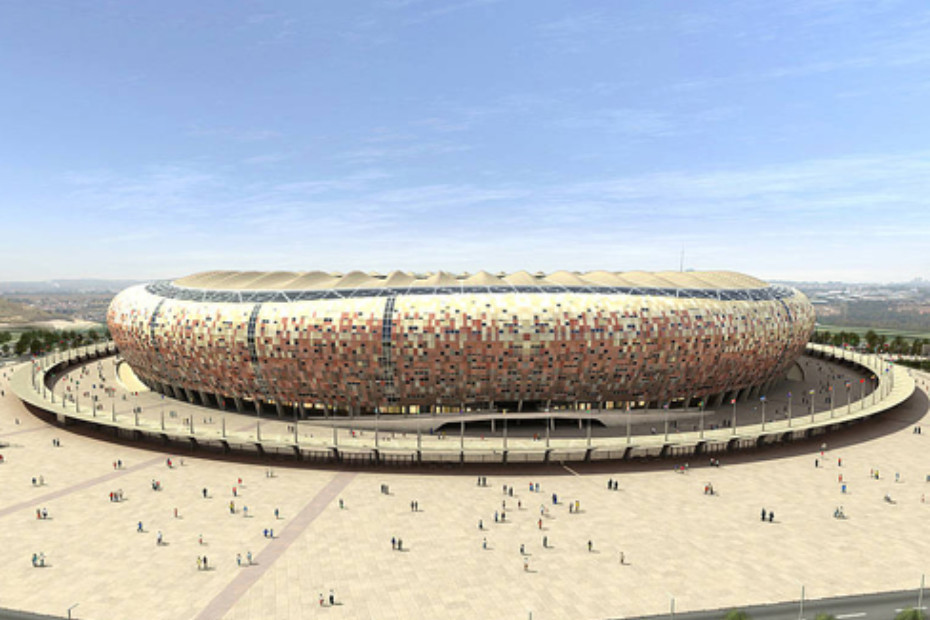 concrete skin, Soccer City Stadium, african colours