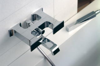 Serif bathtub mixer and inlet with hand shower  by  Ritmonio