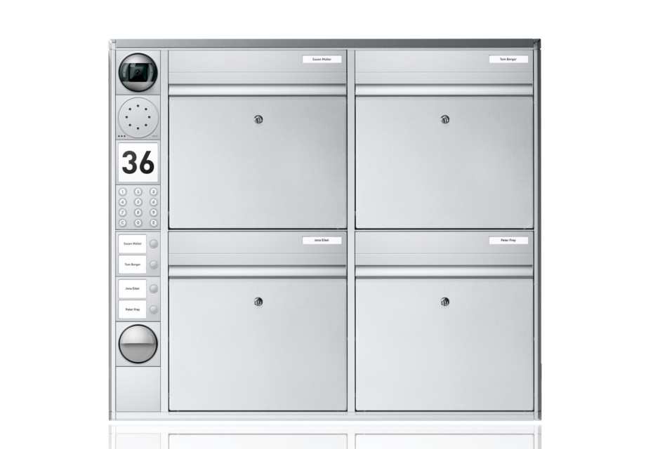 Portier wall-mounted letterbox system, 4 compartments