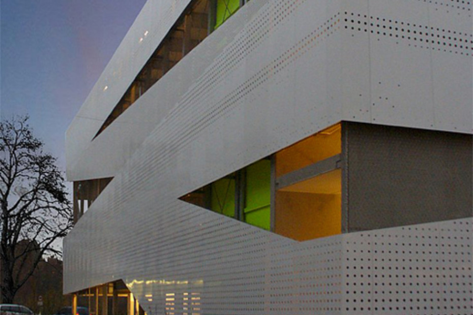Perforated cladding, Car Park Educational Campus in Heilbronn