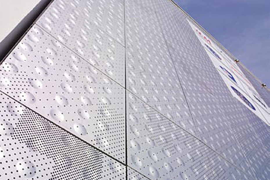 Embossed and perforated cladding, Le Ruban Bleu