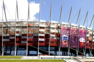 Expanded metal cladding, National Stadium in Warsaw  by  RMIG