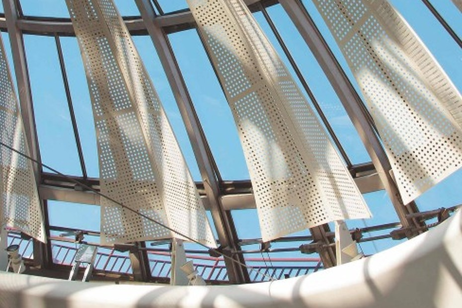 Perforated sun screens, shopping centre La Part Dieu in Lyon