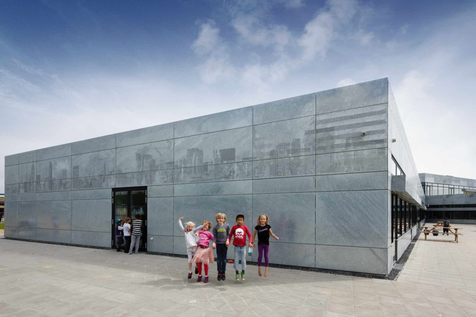 Picture perforation for a facade, Nordstjerneskolen State school in Frederikshavn