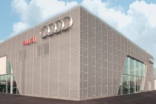 Perforated cladding, Audi Bitterfeld  by  RMIG City Emotion