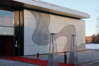 Perforated aluminium cladding, Borupgaard  by  RMIG