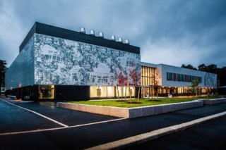 Perforated aluminium facade, Secondary School in Lyngdal  by  RMIG