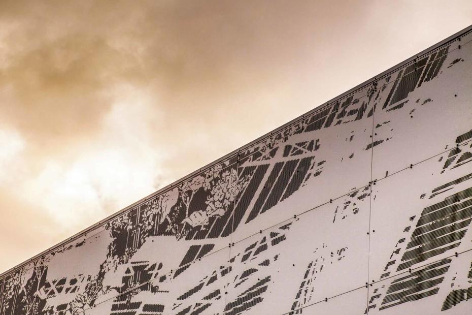 Perforated aluminium facade, Secondary School in Lyngdal