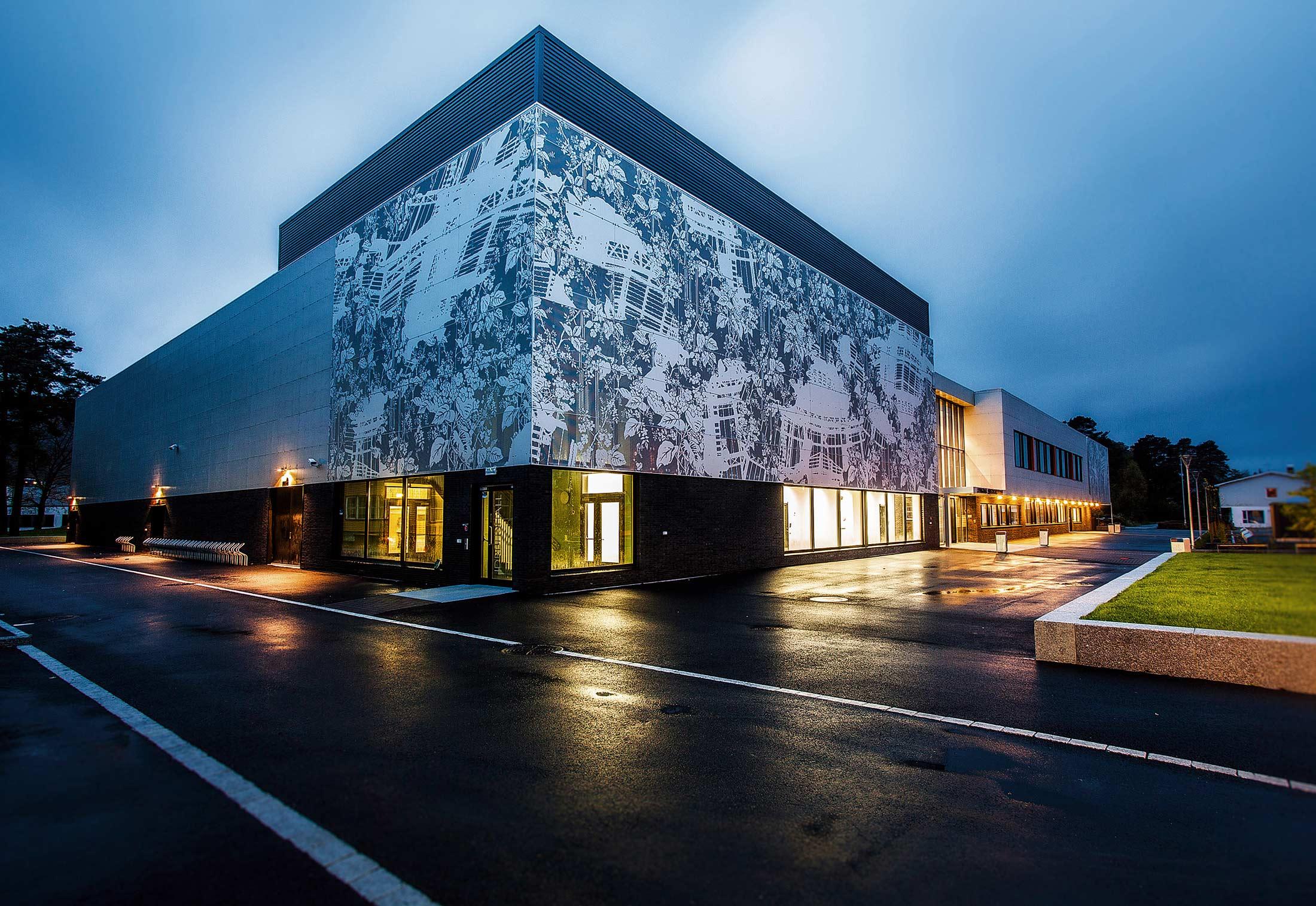 Perforated Aluminium Facade Secondary School In Lyngdal
